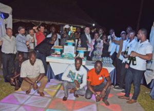 Nos Premiers 100 ans en Côte d'Ivoire :  Haut de gauche à droite : C. ROUSSEL, C. GUILLERM, P. GAILLRD, P. BOUTET, C. ALLOU, G. GHANSAH, A. TRAORE, E. DJEDJE, M. TARNAGDA, B. BOCCARD, I. NEVRY, I. KAMAGATE, R. COULIBALY, A. TIMITE, D. KACOU, T. BARRO (derrière), B. BOYE et deux personnes du restaurant Bas de Gauche à Droite : A. BEOGO, C. YORO , M. MARIKO, K. DIARASSOUBA