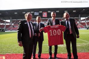 Olivier Létang ( Président du Stade Rennais), entouré de Patrick Boccard, Philippe Marie & Bruno Boccard